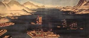 長崎港絵画